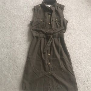 Sleeveless utility dress, size 2